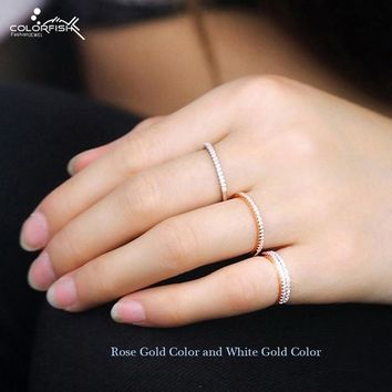 COLORFISH 925 Sterling Silver Stackable Ring 1mm Cz Stone Match Band Finger Rings Women Rose Gold Color Knuckle Thin Ring