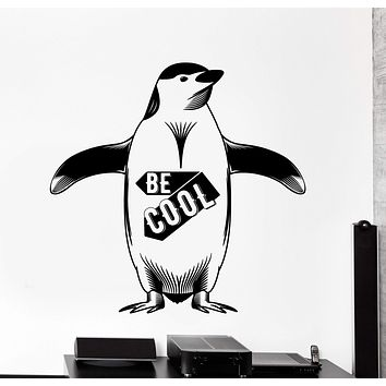 Vinyl Wall Decal Penguin North Pole Winter Funny Decor Be Cool Quote Unique Gift z4494