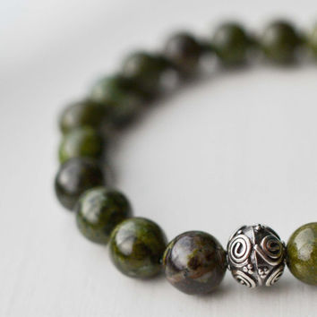 Green Forest Jasper Bracelet Sterling Silver Bracelet Faceted Bead Bracelet Gemstone Bracelet Earthy Forest Green Stretch Bracelet