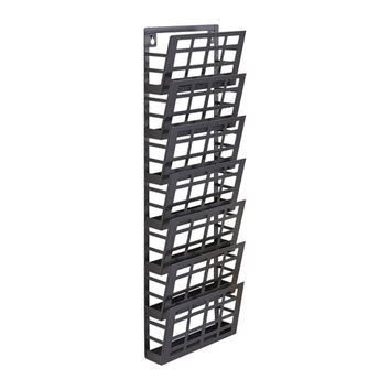Safco Home Office Furniture Wall Mount Grid Magazine Rack-7 Pocket, Black 9.50W x 5.50D x 29.50H