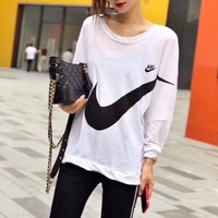 """""""Nike"""" Women Casual Hook Logo Print Thin Long Sleeve Sun Protection Clothing Pullover Tops"""