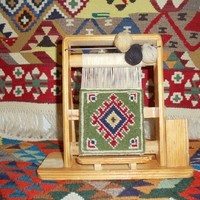 Miniature Carpet Weavers Loom for baby's Doll House with seat of pine