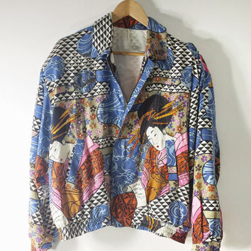 Vintage 90s Asian Inspired Silk Bomber Jacket Geisha Girl Print Hip Hop Baroque - SZ up tp M