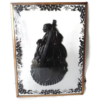 Antique Massive Black Bakelite Celluloid Cameo Reverse On Convex Glass Frame