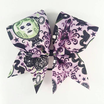 Madame Leota Haunted Mansion Cheer Bow - 3 Inch Texas Sized - Halloween Party - Theme Practice - Birthday Gift - Ponytail Accessory - Fall
