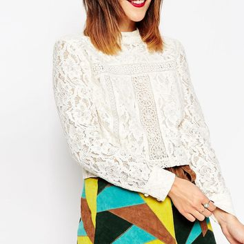 MEGAN X ASOS TOPS Lace Insert 70s High Neck Top