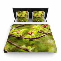 """Ginkelmier """"Painted Apple Blossom Branch"""" Green Photography Cotton Duvet Cover"""