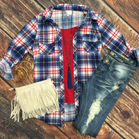 Penny Plaid Flannel Top: Royal/Red