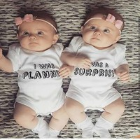 Newborn Letter Printing Lap Shoulder Twin Baby Clothes