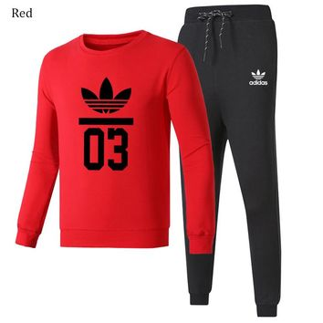 ADIDAS Clover fashion men and women running casual sportswear two-piece Red