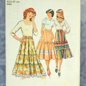 Vintage Peasant Skirt Sewing Pattern Style 2253, Size 12 Small-Medium Printed Pattern Gathered Flared Gypsy Skirt 1970s Boho Bohemian Layers