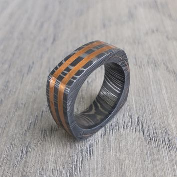 Damascus Steel Ring Copper Inlay, Custom made, Mens Wedding Band