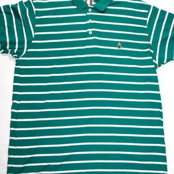 Vintage Gant Striped Green Polo Shirt Mens Size XL Made in USA