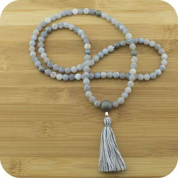 Matte White Fire Agate Mala Beads Necklace with Matte Gray Druzzy Agate