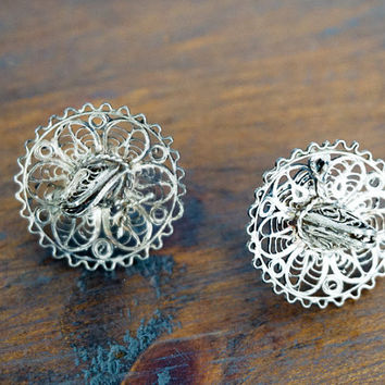 Mexican Vintage Sterling Silver Earrings Sombreros