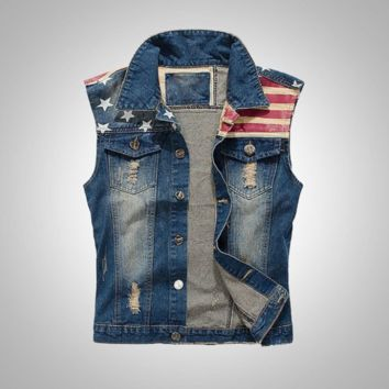 Cool Men's Slim Fit American Flag Sleeveless Denim Vest Outwear