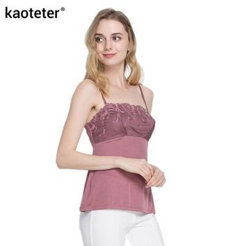 DKF4S 100% Pure Silk Women's Camisoles Female Lace Inner Camis Sleeveless Adjustable Straps Women Sexy Sling Tops Halter Tops Woman