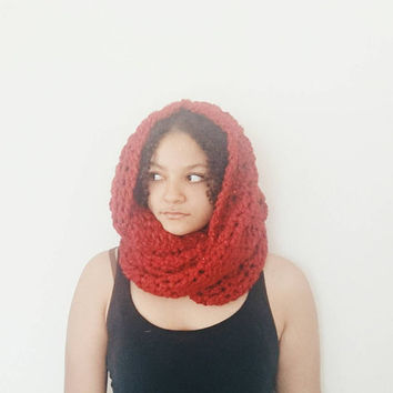 Chunky hooded cowl, Thick winter wool scarf in poinsettia - The Guenevere Cowl- Crochet infinity scarf