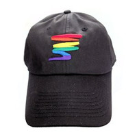 Black Baseball Cap with Gay Rainbow Squiggle - LGBT Gay and Lesbian Pride Hat - LGBT Gay and Lesbian Pride Clothing & Apparel (Black and Rainbow Squiggle)