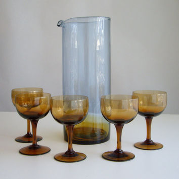 Vintage Mid Century Modern Barware Cocktail Glasses and Pitcher Set - Amber and Smokey Blue