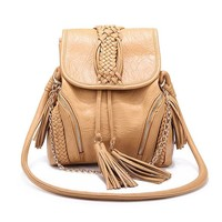 Bohemian Plait Fringed Chain Purse Shoulder Bag