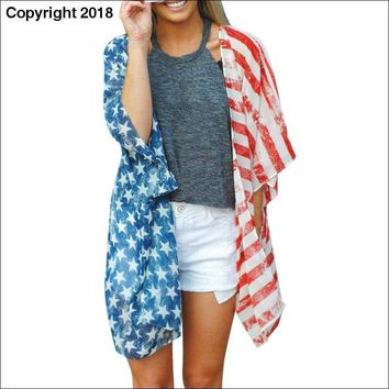 American Independence Day Flag Print Women Shirts Beach Wear Covers Clothes Female Girls Clothing Top For Summer