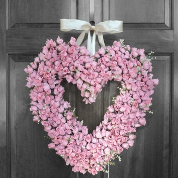 CHRISTMAS IN JULY Summer Sale Wedding Wreath - Valentines Wreath - Pink Rose Wreath - Heart Shape Wreath - Wedding Decorations - Front Door