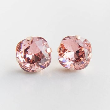 Blush Rose Crystal Earrings . swarovski crystal studs . rose or yellow gold . bridal jewelry