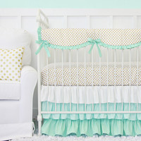 Mint and Gold Dot Ruffle Baby Bedding | Mint and Gold Dot Crib Bedding Set