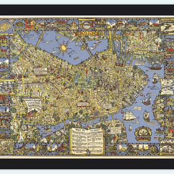 Old Map of Boston 1926,  Massachusetts Pictorial map
