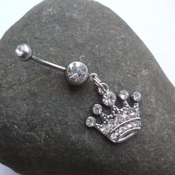 pretty pretty princess crown belly ring from