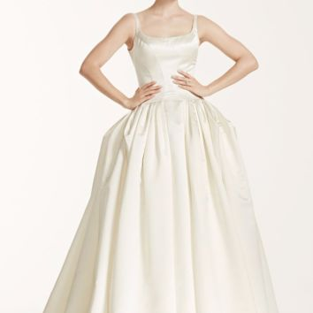 Truly Zac Posen Satin Wedding Dress with Pleating - Davids Bridal