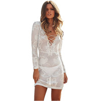 White Beach Dress Knitted Tunic Beachwear Beach Cover Up