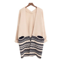 Women V-neck Cardigan Long Sleeve Loose Slim Casual Irregular Knitted Sweater Coat = 1945913796