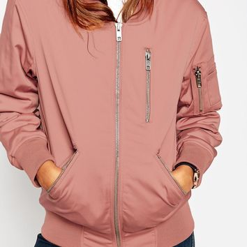 ASOS Bomber Jacket with Zip Detail at asos.com