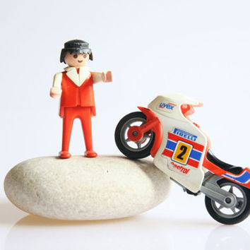 Playmobil Pirelli bike and bike rider, vintage 1974 Playmobil toys, retro Playmobil figure, miniature Pirelli toy bike , motorcycle gift