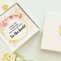 Will You Be My Bridesmaid Box Bracelet Be My Bridesmaid Gift Box Will You Be My Bridesmaid Ideas Will You Help Me Tie The Knot Gift (EB3144)