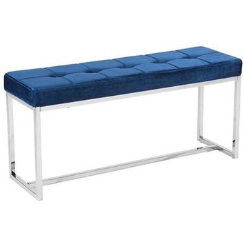 ZUO Modern Synchrony Bench Cobalt Blue Velvet 100195 Dining,Bedroom Benches