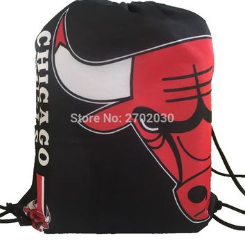 Chicago Bulls Basketball Team Drawstring Bags Men Sports Backpack Digital Printing Pouch Customize Bags 35*45cm