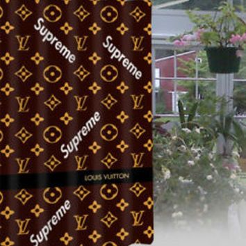 Supreme X LV Louis Vuitton Fashion Print Exclusive Waterproof Bathroom Shower Curtain High Quality I