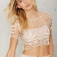 For Love & Lemons St. Tropez Lace Crochet Top