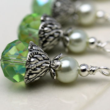 Lime Green AB Multifaceted Rondelle Crystal and White Pearl Bead Dangle Charm Drop Set