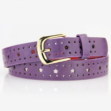 Hot Sale Pin Buckle Dot and Flower Shape Openwork Belt For Women