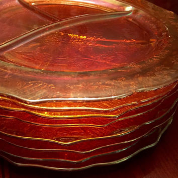 RARE FULL SET of marigold Federal Glass Co.,Carnival Dinnerware Plates. 1930's Marigold Luster, Pressed Glass plates. Normandie Iridescent.