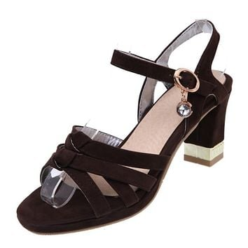 Ankle Straps Open Toe Women Sandals Chunky Heels Shoes MF1411