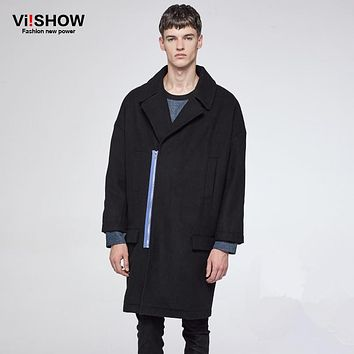 VIISHOW Mens Long Coats Autumn Winter Men's Fashion Zip Long Trench Coat Jacket Pea Coat Overcoat British Style FC40564
