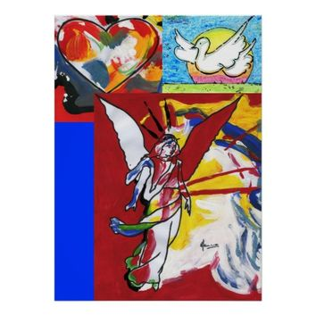 Heart Dove & Angel descending painting posters