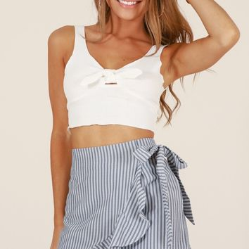 Come Closer skirt in grey stripe Produced By SHOWPO