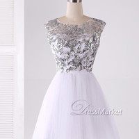 Short white beading open back homecoming dress,Knee length sequins beading homecoming dress,Short white prom dress,beading sexy Party dress
