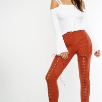 Luisa Lace Leggings - Rust